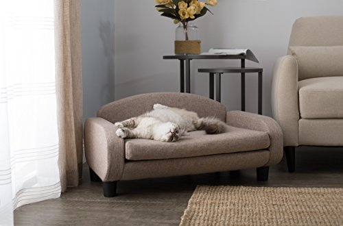 """Paws & Purrs Modern Pet Sofa 31.5"""" Wide Low Back Lounging Bed with Removable Mattress Cover in Sand"""