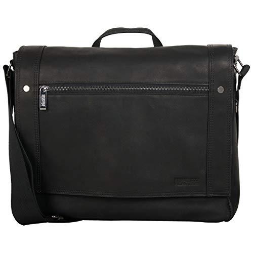 Kenneth Cole Reaction Men's Mess Essentials' Colombian Leather Business 15.6' Laptop Messenger Bag, Black, One Size