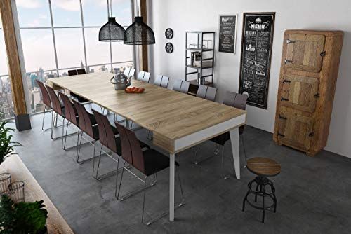 Home Innovation - Tavolo da Pranzo e Soggiorno, rettangolar, allungabile a consolle Nordic Curve...