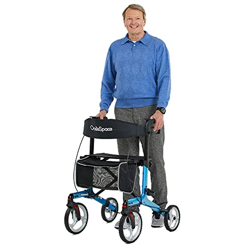 OasisSpace Aluminum Rollator Walker, with 10'' Wheels and Seat Compact Folding Design...