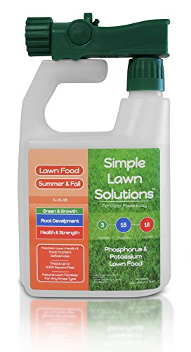 Ultimate 3-18-18 NPK- Lawn Food Quality Liquid Fertilizer- Concentrated Spray- Any Grass Type- Summer & Fall Nutrients- Simple Lawn Solutions, 32-Ounce- Green, Grow, Root Growth, Health & Strength