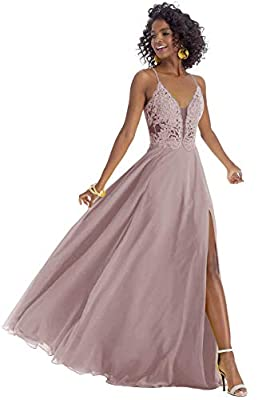 Dress Feature: A-Line, V-Neck, Side Slit, Spaghetti Strap, Lace Corset, Long/Floor-Length, Open Back, Built-In Bra High Quality Elegant Dresses for Women; Dusty Rose Long Prom Gown 2020; Floor Length Evening Ball Gown; Lace Bridesmaid Dress; Christma...