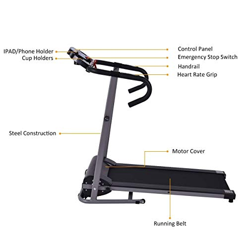 Goplus 1100W Electric Folding Treadmill, with LCD Display and Heart Rate Sensor, Compact Running Machine for Home 8