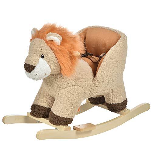 HOMCOM Kinder Schaukelpferd Baby Schaukeltier Löwe mit Löwenschrei Spielzeug Haltegriffe für 18-36 Monate Plüsch Braun 68 x 35 x 50 cm