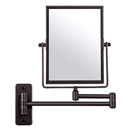 Qimh Wall Mounted Makeup Vanity Mirror, 8x6 Inch Rectangular 3X Magnifying with Extendable Arm, Bronze Double-Sided Swivel Mirror