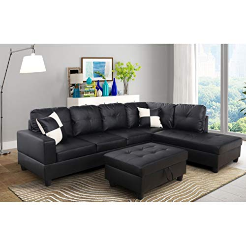 AYCP FURNITURE Black Right Facing Chaise Convertible L Shape Faux Leather Sectional Sofa Set