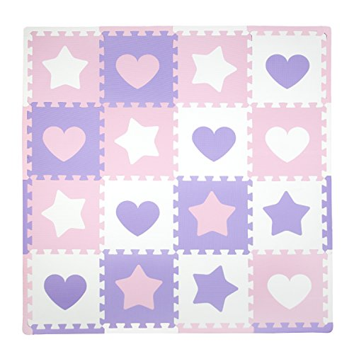 Tadpoles Baby Play Mat, Kid's Puzzle Exercise Play Mat  Soft EVA Foam Interlocking Floor Tiles, Cushioned Children's Play Mat, 16pc, Hearts and Stars, Pink/Purple/White, 50x50
