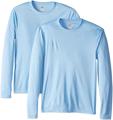 Hanes Men's Long Sleeve Cool Dri T-Shirt UPF 50+, Large, 2 Pack ,Light Blue