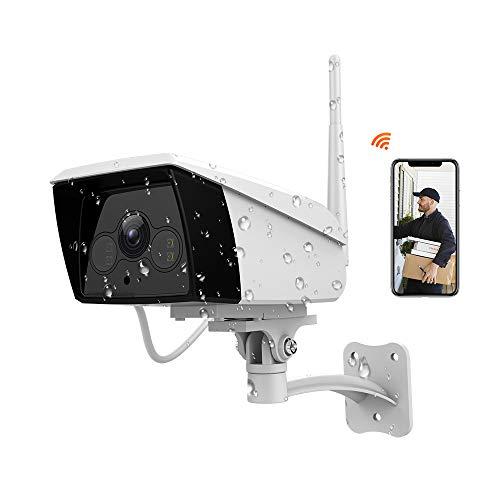 FHD 1080P Telecamera IP Esterna Senza Fili, Videocamera di Sorveglianza WiFi con IP66 Impermeabile, Rilevazione Movimento, Visione Notturna, 2 Vie Audio, Compatibile con iOS/Android