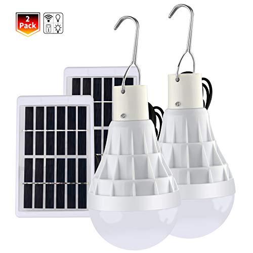 TechKen 2 Pièce Solaire alimenté Ampoule Led, 12W Lampe Urgence Solaire...