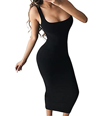 Basic casual sleeveless tank top long dress,hugs your body Stretch fabric,Size:S=USA 4-6,M=8-10,L=12-14,XL=16-18 Pull On closure,super versatile,classic style will never be out of fashion Suitable for party cocktail club work casual homewear daily we...