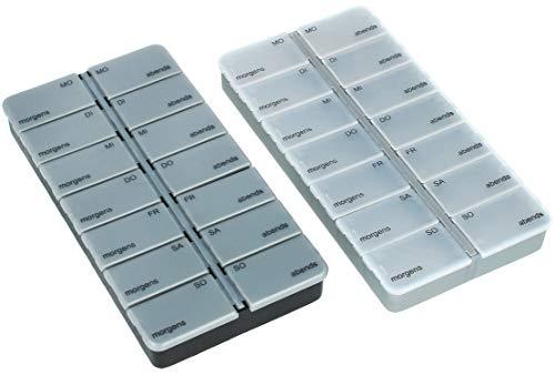 com-four® 2X Medikamentendosierer - Medikamenten-Box für 7 Tage - Pillendose - Tablettendose - Tablettenbox - Wochendosierer zur Aufbewahrung (02 Stück - schwarz/silberfarben)