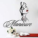 Ajcwhml Salón de Belleza Manicura Calcomanía de Pared Salón de uñas Mano Chica Cara Etiqueta de la Pared Ojos Labios Etiqueta de Vinilo Decoración del hogar Peluquería - 75X67CM-75X67CM