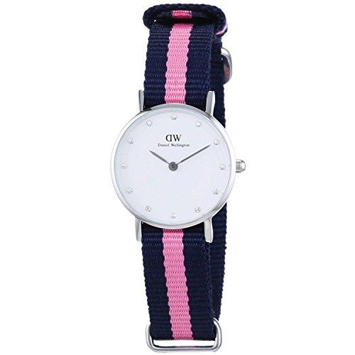 Daniel Wellington Damen-Armbanduhr XS Classy Winchester Lady Silver Analog Quarz Nylon DW00100073, weiß (silber,blau/rosa)
