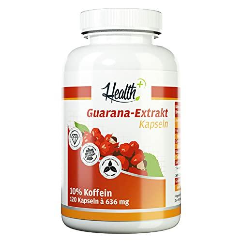 Health+ Guarana-Extrakt - 120 Kapseln, hochwertiger Extrakt mit 10% Koffein - ohne Zusätze, 100 g