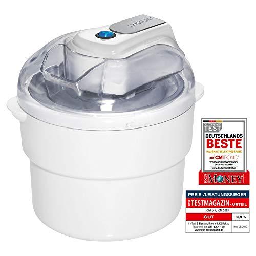 Clatronic ICM 3581 Eiscreme-Maker , geeignet zur Zubereitung von Sorbet, Eis und Frozen Joghurt, für bis zu 1500 ml Eiscremé, Deckel mit Nachfüllöffnung, weiß