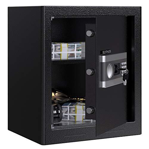 Slypnos Tresor Safe XL mit schlüssel, Schranksafe 45×38×31cm mit elektronischem Zahlenschloss, 2 Notfall Vorrang Tasten, 4 Batterien, herausnehmbarem Tabletet für Schmuck Bargeld Dokument Laptop