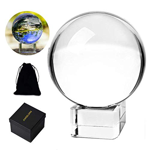 "Clear Crystal Glass Sphere Ball with Stand, 3.15""/80mm K9 Crystal Photography Prop Decoration Art Decor, Comes in Gift Box"