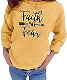 Women Faith Over Fear Pullover Christian Letter Inspirational Graphic Sweatshirt Crewneck Long Sleeve Fall tee Shirt Tops (Yellow, M)