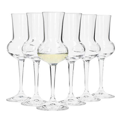 Bormioli, Set da 6 Bicchieri da Grappa, capacit di 75ml, Altezza Totale del Bicchiere di 16,5cm, Lunghezza del Manico di 5,8cm