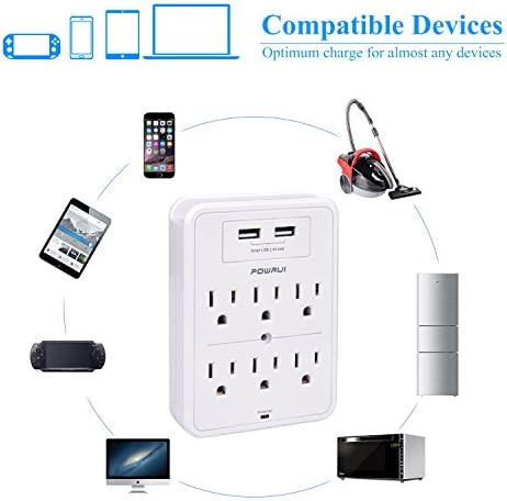 POWRUI Surge Protector, USB Wall Charger with 2 USB Charging Ports(Smart 2.4A Total), 6-Outlet Extender and Top Phone Holder for Your Cell Phone, White, ETL Listed 16