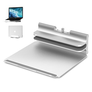 Vertical Laptop Stand - Seenda Adjustable Laptop Stand, Vertical Stand plus Adjustable Height Stand for Typing 2 in 1, Compatible with All MacBook, MacBook Air, MacBook Pro,Dell XPS Laptops-Silver