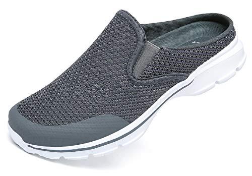 CELANDA Zuecos Hombre Mujer Comodas Zapatillas de Casa Sandalias Playa Verano Mules Antideslizante Ligero Planos Zapatos Cómodos y Transpirables Chanclas de Jardín Gris Oscuro 38EU