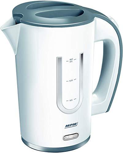 Mini-Wasserkocher MPM, Reisewasserkocher mit 0,5 l Fassungsvermögen, automatische Abschaltung, Elektrischer Teekocher mit einer Leistung von 1000W, weiß, inkl. 2 Plastiktassen