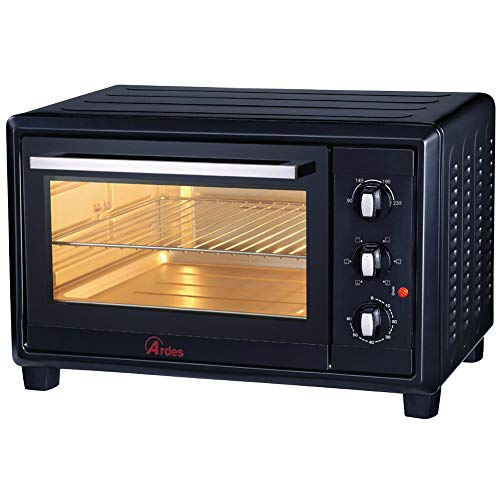 Ardes AR6240B Forno Elettrico Ventilato Gustavo Black 40 Litri con Luce Interna 6 Funzioni Cottura Doppio Vetro con Accessori Nero, 1500 W