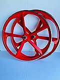 R4 29' BMX Bicycle 5-Spoke Mag Alloy Wheel Sets CNC Braking Surface W/Freewheel (Red)