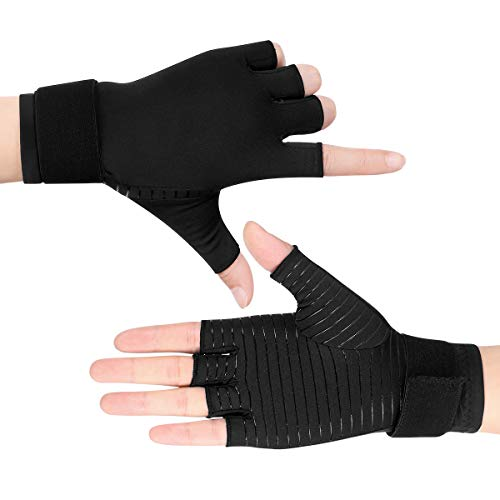 Healifty Compression Gloves - Arthritis Gloves for Arthritis Night Sleep Wrist Support Brace, Relieve and Treat Wrist Pain, Ease Muscle Tension, Half Finger (2 Pair)