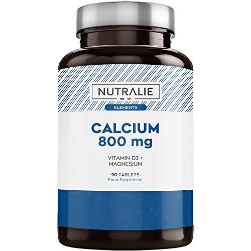 Calcio 800 mg con Magnesio y Vitamina D | Mantenimiento de Huesos,...