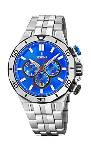 Festina Unisex Erwachsene Chronograph Quarz Uhr mit Edelstahl Armband F20448/2