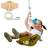 Swurfer Swift - Maple Wood Disc Swing for Kids Ages 4 and Up, Holds up to 150 Pounds - Includes 18' Curved Seat Swing with Heavy Duty Braided Rope