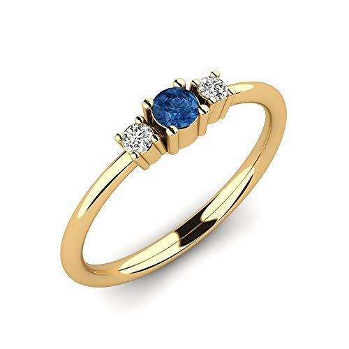 Anillo de compromiso Ajalyn con zafiro AAA de 0,10 ct y diamantes VS de 0,06 ct en oro amarillo 9K 375 + anillo de oro amarillo en un diseño elegante - anillo de compromiso para compromiso