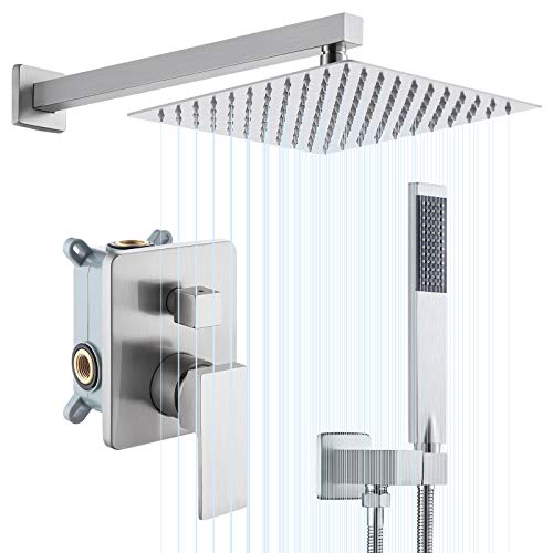 KES Pressure Balancing 10 Inches Rain Shower System 3-Functions Shower Faucet Complete Set Square Brushed Nickel (Including Shower Faucet Rough-In Valve Body and Trim), XB6230-BN