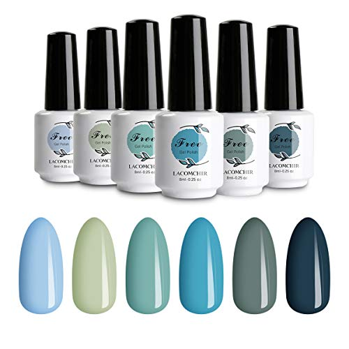 Lacomchir Gel Nail Polish Kit 6 Colors Soak off UV LED Glitter Classic Blue Sky and Ocean Natural Color Nail Gel Polish Manicure Set DIY at Home, 8ml Each Bottle - Plastic Free Ocean Collection