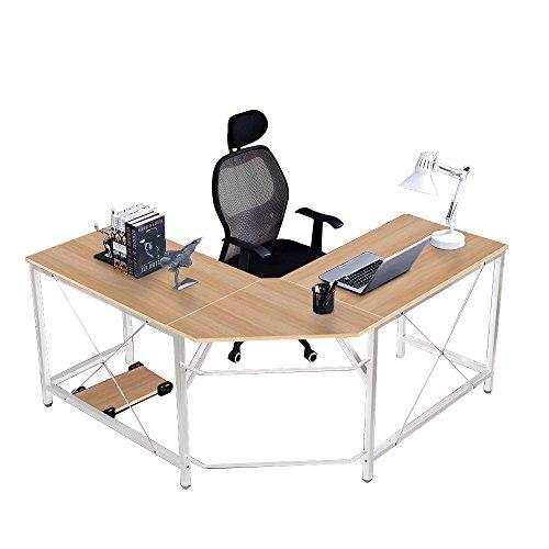 soges Eckschreibtisch Computertisch Gaming Tisch Mit L-Form Winkelschreibtisch großer Gaming Schreibtisch Bürotisch Ecktisch Arbeitstisch PC Laptop Studie Tisch, 150 cm + 150 cm,LD-Z01-BK