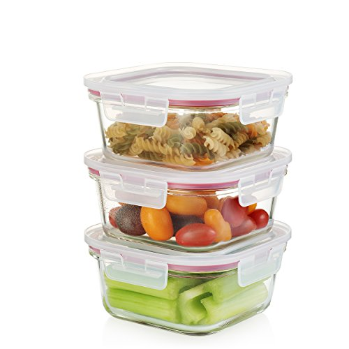 Komax Oven Safe Square Glass Food Storage Containers  Microwave & Freezer Safe - Airtight with Snap Locking Lids - 3 Piece Set - BPA FREE (27 oz)
