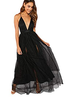 Notice: fabric has no elasticity Sleeveless, deep v neck, maxi dress Fit for everyday dressing Model: Height:175cm/5'9inch, Bust:85cm/33inch, Waist:61cm/24inch, Hip:93cm/37inch, Wear: S Please refer to Size Chart in Product Description as below