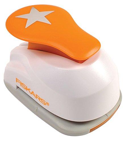 Fiskars Perforatore a leva, Stella,  2,5 cm, Per mancini e destrorsi, Acciaio di qualit/Plastica, Bianco/Arancione, Lever Punch, M, 1004722