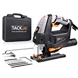 TACKLIFE 6.7 Amp Jigsaw with Laser & Work Light, Variable Speed 800-3000SPM,6 Blades, Carrying Case, Adjustable Aluminum Base, Pure Copper Motor, 10 Feet Cord