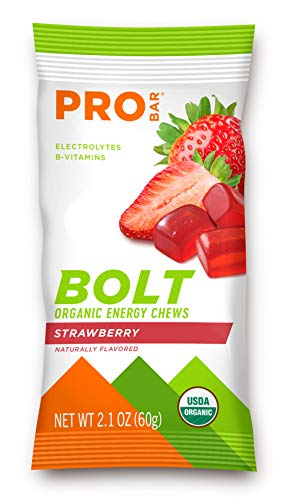 PROBAR - Bolt Organic Energy Chews, Strawberry, Non-GMO, Gluten-Free, USDA Certified Organic, Healthy, Natural Energy, Fast Fuel Gummies with Vitamins B & C (12 Count) 1