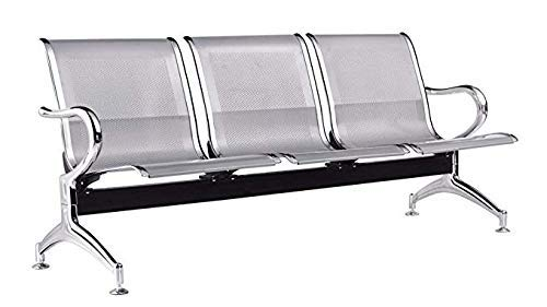 Ashirwad Airport Chair Three (3) Seater Waiting Area Chair Visitor Reception Chair in Chrome Finish
