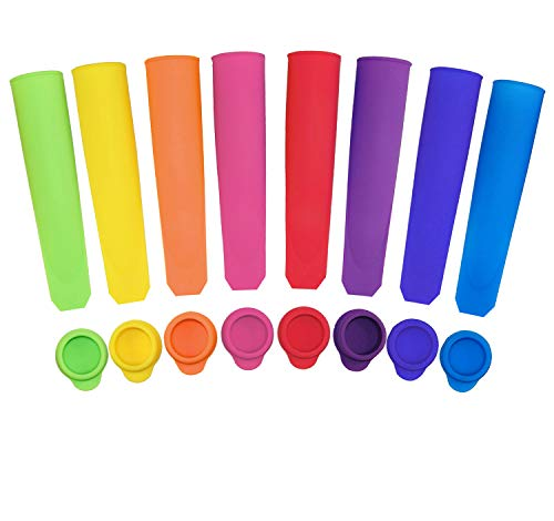 Popsicle Molds, Ouddy Silicone Ice Pop Molds with Lids, Multi Colors - Set of 8