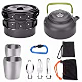 Odoland Multi-PCS Mini Kit de Casseroles Camping, Cookware Kit en Alliage d'Alu, Légère, Durable et Compact avec Tasse, Fourchette et cuillère pour Pêche/Survie/ Randonnée/Outdoor