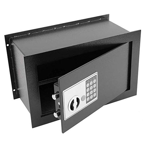 PrimeMatik - Versenkt Wandtresor Stahl Elektronischer Code Mauertresor Möbeltresor 36x19x23cm schwarz