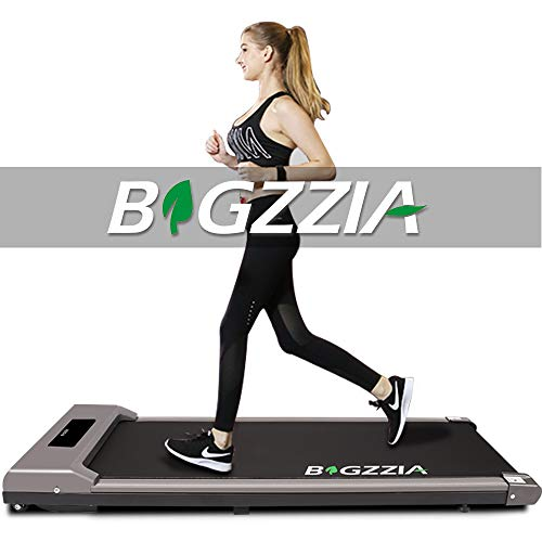 bigzzia Motorised Treadmill, Under Desk Treadmill Portable Walking Running Pad Flat Slim Machine with Remote Control and LCD Display for Home Office Gym Use, Installation-Free (Grey)