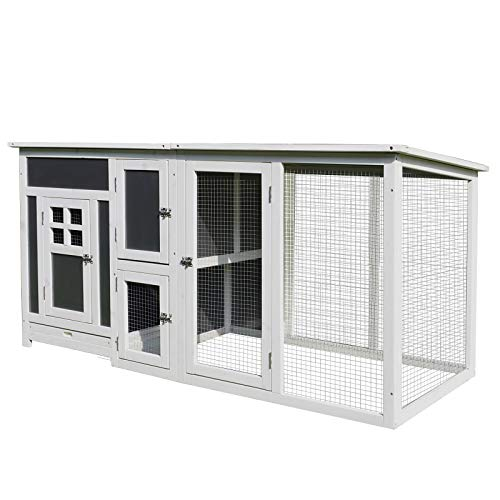 PawHut 63 Wood Indoor/Outdoor Chicken Coop with Fun Outside Run & Cozy Home-Like Nesting Box, Grey/White