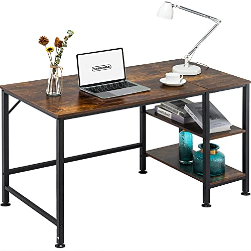 YOUDENOVA Home Office Desk with Reversible 2 Tiers Storage Shelves,...